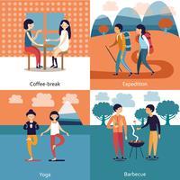 Concept de passe-temps d'amis vecteur