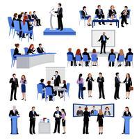 Collection d'icônes plat personnes parlant en public
