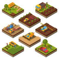 Jeu de champs isométrique de machines agricoles vecteur