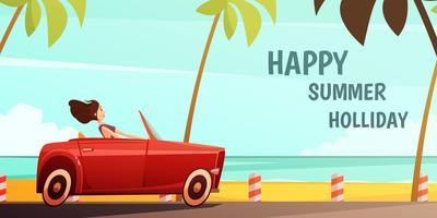 Affiche de vacances d'été de voiture rétro vecteur