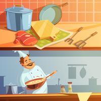 Jeu de bannières de cuisine vecteur