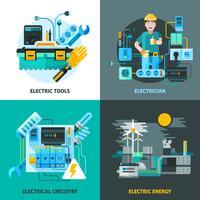 Électricité Concept Icons Set