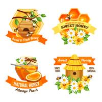 Étiquettes publicitaires au miel vecteur