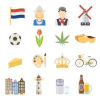 Pays-Bas plat Icons Set vecteur
