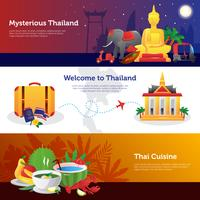 Ensemble de bannières horizontales de voyage en Thaïlande vecteur