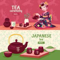 Ensemble de bannière de cérémonie du thé vecteur