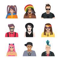 Sous-cultures personnes Icons Set vecteur