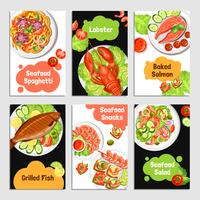 Bannières de cartes de fruits de mer vecteur