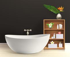 Intérieur de la salle de bain avec meubles vecteur