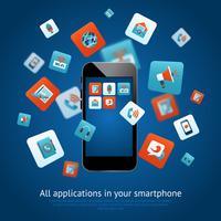 Affiche d'applications pour smartphone vecteur