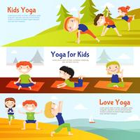 Ensemble de bannières horizontales Kis Yoga vecteur