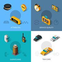 Taxi isométrique 4 icônes plates vecteur
