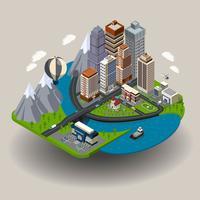 Concept de ville isométrique vecteur