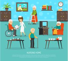Affiche plate de personnes âgées