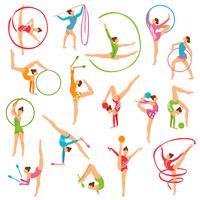 Ensemble de figurines de gymnaste couleur vecteur