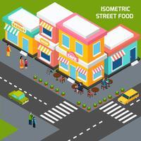 Affiche isométrique City Street Food Cafe vecteur