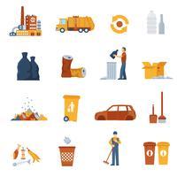 Icônes de couleur des ordures
