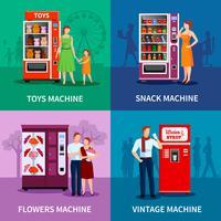 Distributeurs automatiques colorés élégants