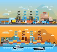 Bannières horizontales à deux ports de fret vecteur