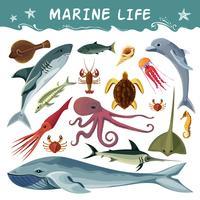 Ensemble d'icônes décoratifs des habitants de la marine vecteur