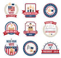 Étiquettes d'élection présidentielle vecteur