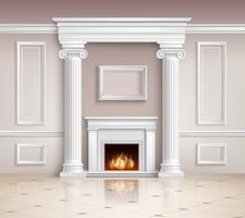 Intérieur classique avec design de cheminée vecteur