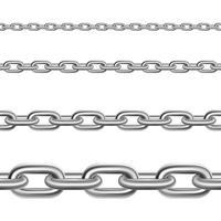Ensemble réaliste horizontal de chaînes en acier vecteur