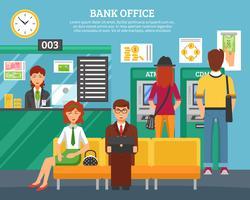 Personnes à l'intérieur du concept de bureau de banque vecteur