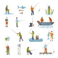 gens de pêche poisson et outils icônes définies