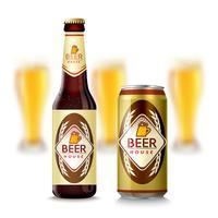 Bouteille de bière et peut vecteur