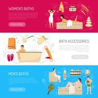 Ensemble de bannières horizontales pour spa, bain et sauna vecteur