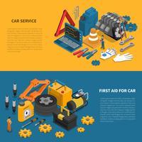 Ensemble de bannière isométrique Outils de service de voiture