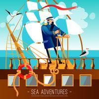 Illustration de dessin animé d'aventures marines