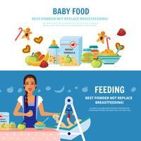 Nourriture pour bébé 2 bannières plates