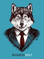 Affiche de loup d'affaires dessiné à la main vecteur