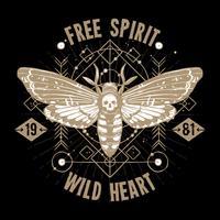 Affiche de tatouage occulte de papillon vecteur