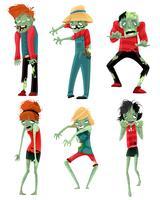 Jeu de personnages de monstres zombies vecteur