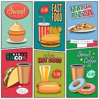 Collection de mini affiches BD Fast Food vecteur