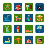 Amusement Park Square Icons Set vecteur