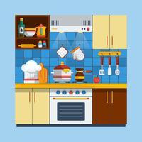 Illustration intérieure de cuisine vecteur