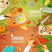 Cours de cuisine vue de dessus
