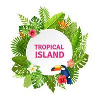 Cadre d'île tropicale en flore et toucan