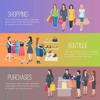 Femme Shopping Bannière Plat