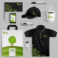 Éléments décoratifs de l'identité d'entreprise écologique vecteur