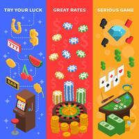 Bannières verticales isométriques Casino vecteur
