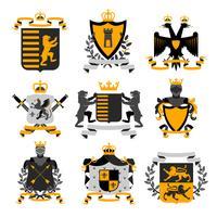 Collection d'icônes héraldiques emblèmes noirs et dorés