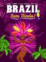 Affiche du carnaval du Brésil vecteur