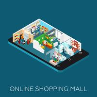 Icône isométrique de centre commercial en ligne vecteur