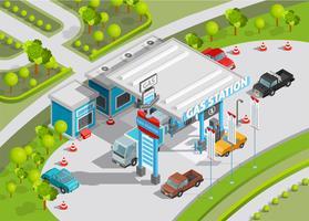 Composition isométrique de la station d'essence vecteur