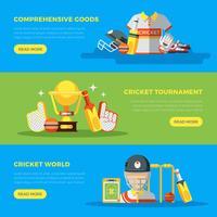 Bannières du monde de cricket vecteur